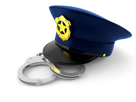 Police hat with handcuffs isolated on white background