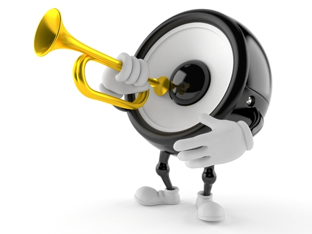 Speaker character playing the trumpet isolated on white background Stock Photo