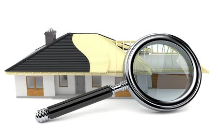 House plan with magnifying glass isolated on white background 版權商用圖片