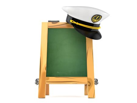 Captain hat with chalk board isolated on white background