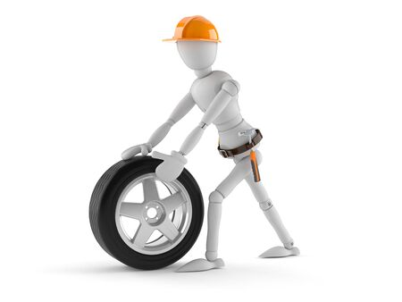 Manual worker with car wheel isolated on white background Stock Photo