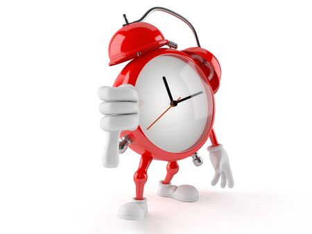 Alarm clock character with thumb down isolated on white background