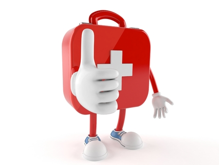 First aid kit character with thumbs up isolated on white background Banco de Imagens