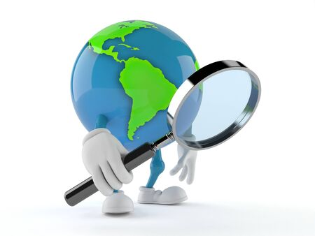 World globe character looking through magnifying glass isolated on white background