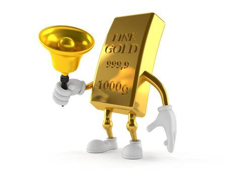 白い背景に隔離されたハンドベルを鳴らす金色の文字