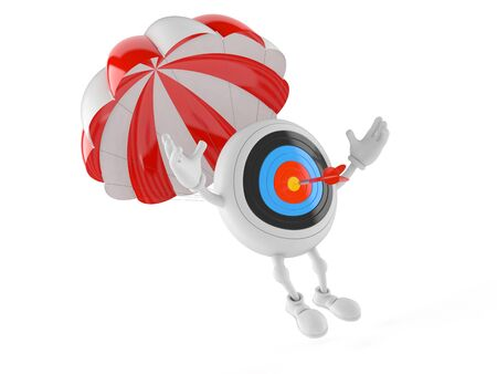Bulls eye character with parachute isolated on white background