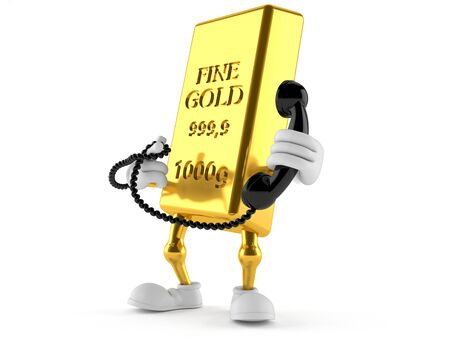 Gold character holding a telephone handset isolated on white background
