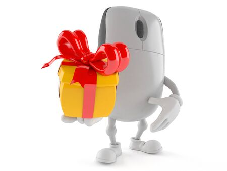 Computer mouse character holding gift isolated on white background