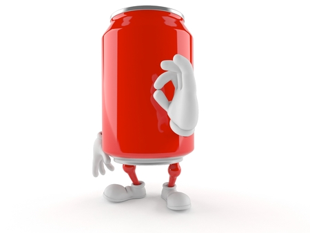 Soda can character with ok gesture isolated on white background Foto de archivo