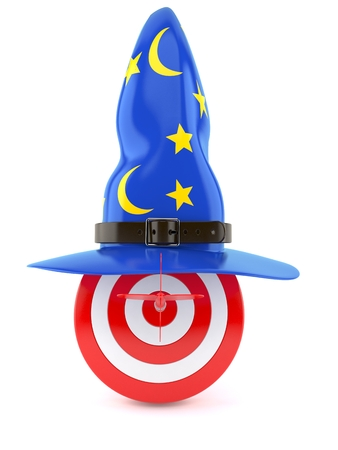 Bulls eye with wizard hat isolated on white background Stock Photo