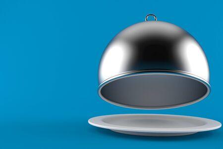 Silberne Verpflegungshaube mit der leeren Platte lokalisiert auf blauem Hintergrund Standard-Bild - 94982881