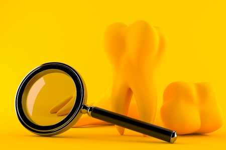 Dental background with magnifying glass in orange color