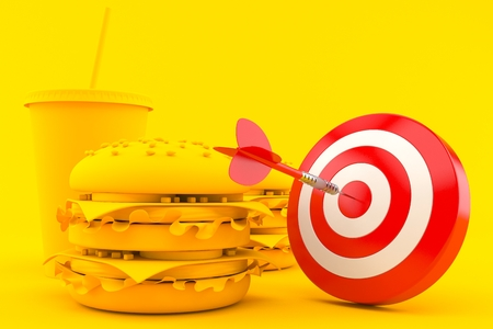 Fast food background with bull's eye in orange color