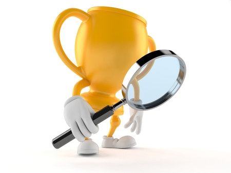 Golden trophy character looking through magnifying glass isolated on white background Stock Photo