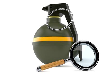 Hand grenade with magnifying glass isolated on white background Stock Photo
