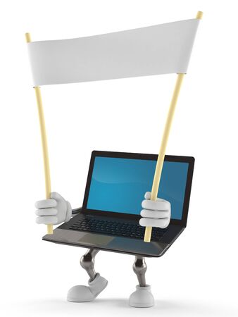 Laptop character holding blank banner isolated on white background Stock Photo