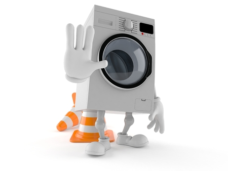 Washer character making stop gesture isolated on white background