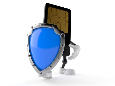 SIM card character with protective shield isolated on white background