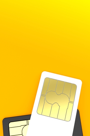 SIM cards on orange background