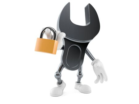 Wrench character holding padlock isolated on white background