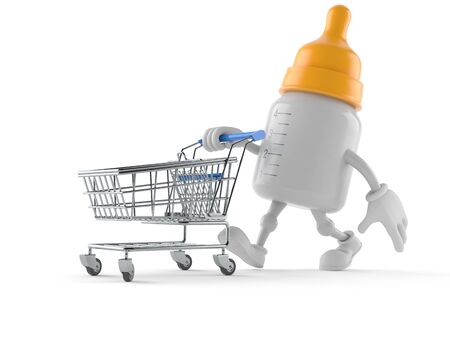 Baby bottle character with shopping cart isolated on white background