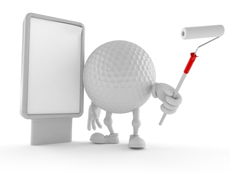 Golf ball character with blank billboard isolated on white background Imagens