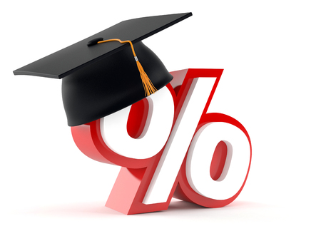 Percent symbol with graduation hat isolated on white background