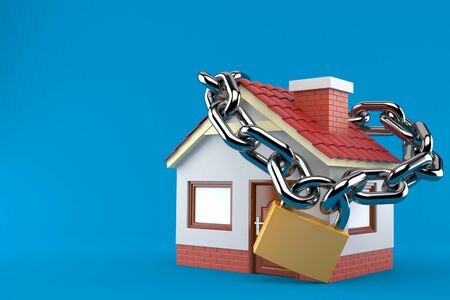 House with chain and padlock isolated on blue background Stock Photo