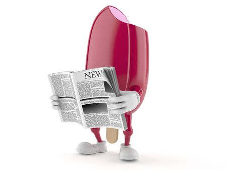 Ice cream character reading newspaper on white background
