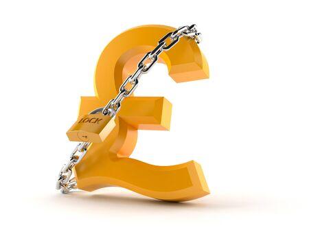 Pound symbol with padlock isolated on white background Stock Photo