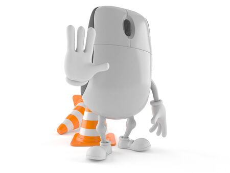 Computer mouse character with traffic cone isolated on white background
