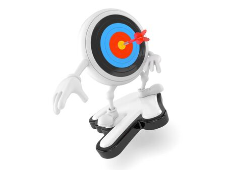Bulls eye character with cursor isolated on white background