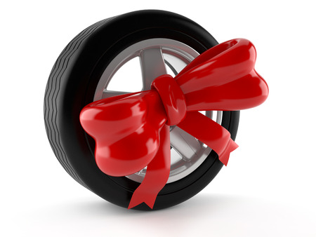 Car wheel with ribbon isolated on white background
