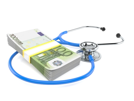 Stethoscope with euro currency isolated on white background Stockfoto