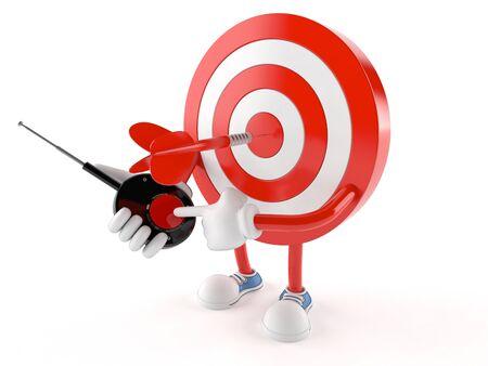 Bulls eye character pushing button isolated on white background Stock Photo
