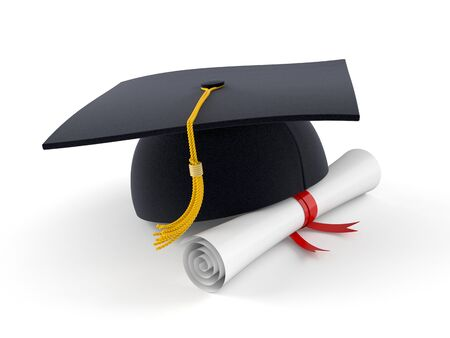 Mortarboard with certificate isolated on white background