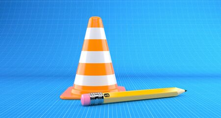 Traffic cone with pencil on blueprint background