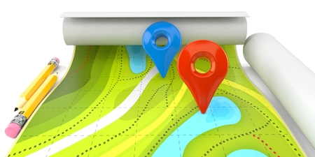 Map with tracker isolated on white background Stock Photo