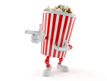 Popcorn character isolated on white background Banco de Imagens