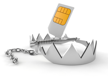 Bear trap with sim card isolated on white background