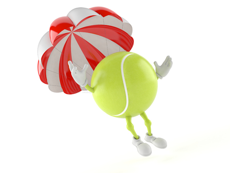 Tennis ball character with parachute isolated on white background