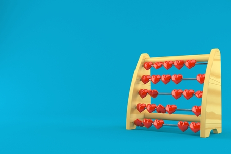Abacus with heats isolated on blue background