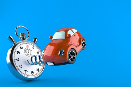 Car with stopwatch isolated on blue background