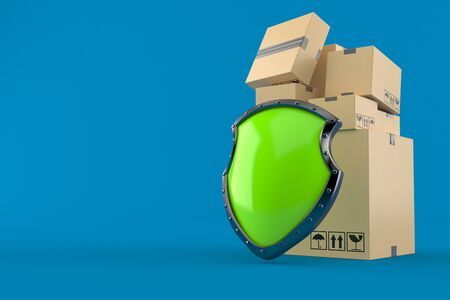 Stack of boxes with shield isolated on blue background