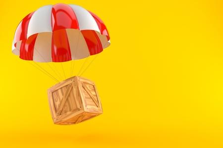 Cargo crate with parachute isolated on orange background Stock Photo