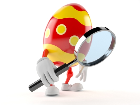 Easter egg character looking through magnifying glass isolated on white background