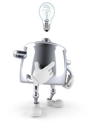 Kitchen pot character thinking isolated on white background Stock Photo