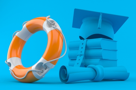 Education background with life buoy in blue color