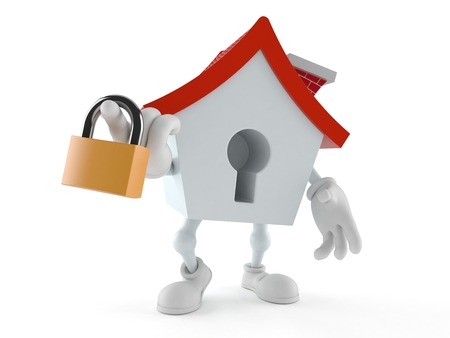 House character holding padlock isolated on white background