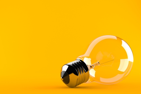 Light bulb concept isolated on orange background